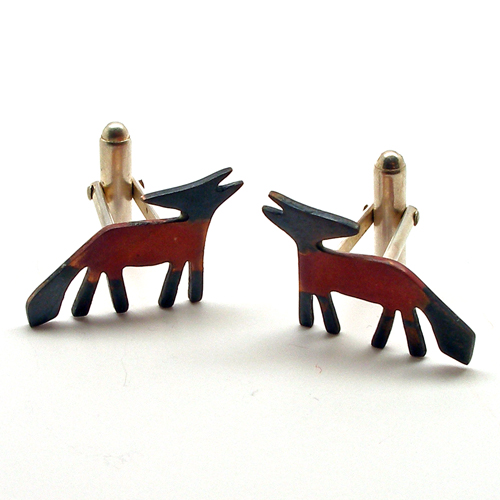 Becky Crow copper and silver fox cufflinks.
