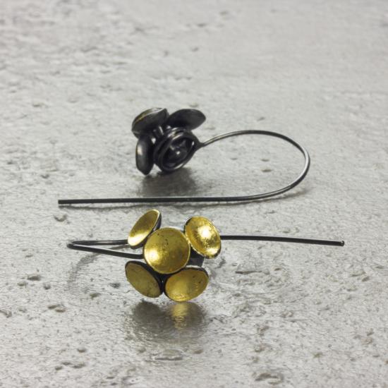 Jenifer Wall yellow gold leaf cluster earrings