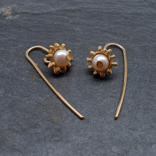 Fiona Hutchinson Gold plated eucalyptus drop earrings with fresh water pearls