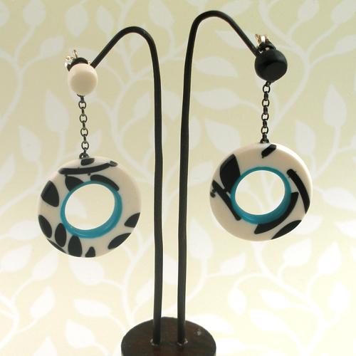 Cream, black and teal hoop drop mismatched earrings by Karen McMillan