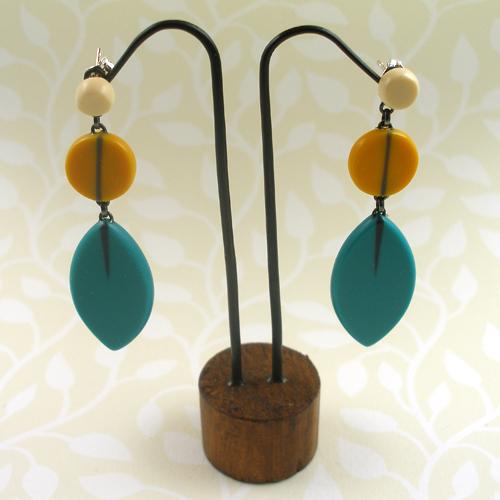Long drop leaf earrings by Karen McMillan
