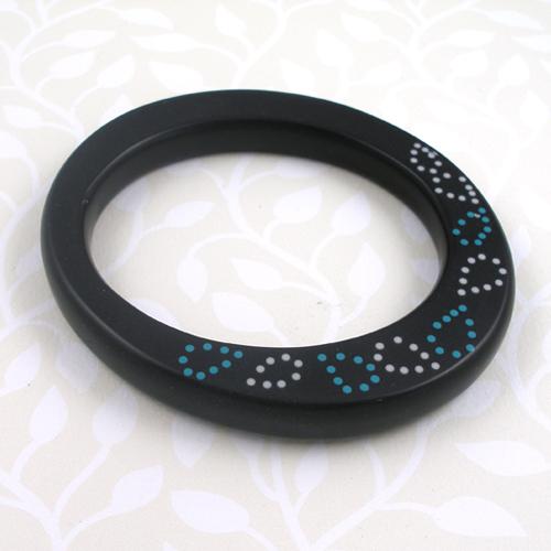 Karen McMillan - Leaf Bangle in black, cream and turquoise bangle