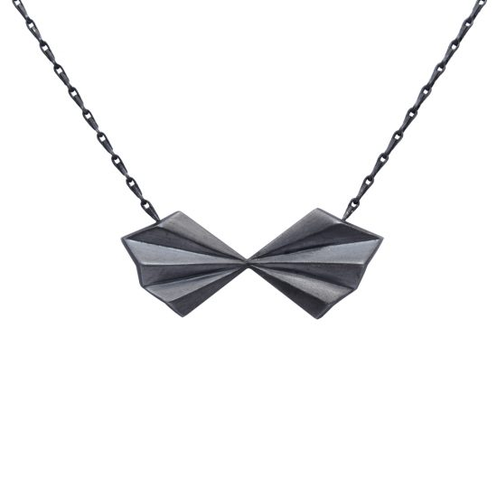 Oxidised Silver Pleated Bow Necklace by Alice Barnes