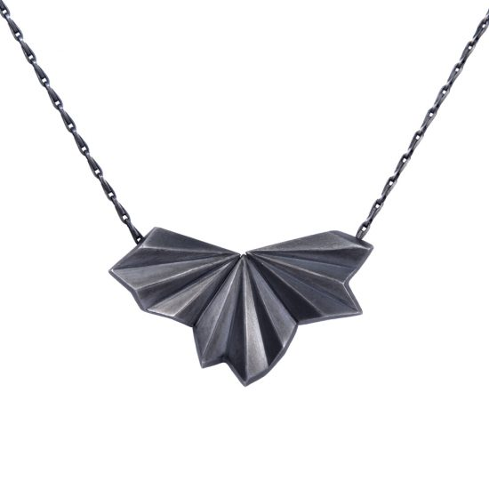 Oxidised Silver Pleated Fan Necklace by Alice Barnes