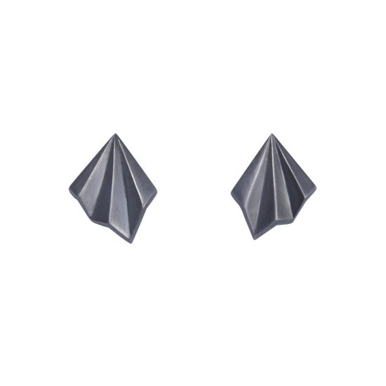 Oxidised Silver Pleated Studs by Alice Barnes