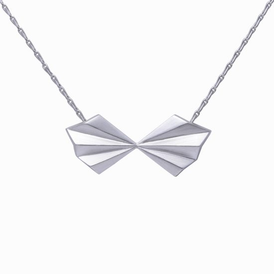 Silver Pleated Bow Necklace by Alice Barnes