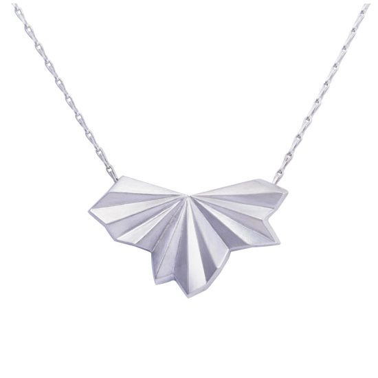 Silver Pleated Fan Necklace by Alice Barnes