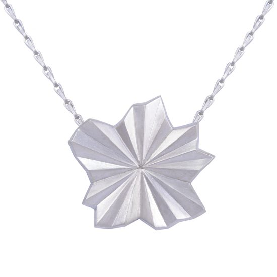 Silver Pleated Flower Necklace by Alice Barnes