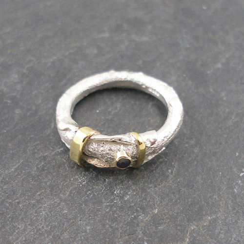 Silver and gold ring by Susanna Hanl
