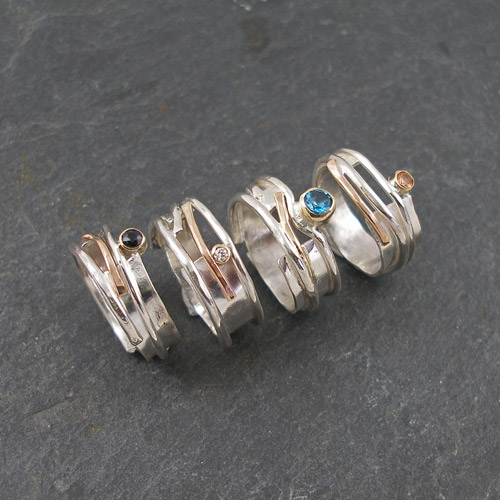 Silver and gold rings, available at Brass Monkeys