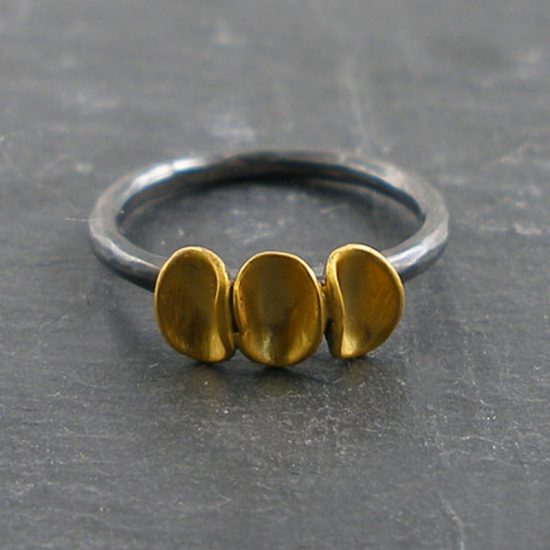 Jenifer Wall cluster 3 pod ring with gold vermeil