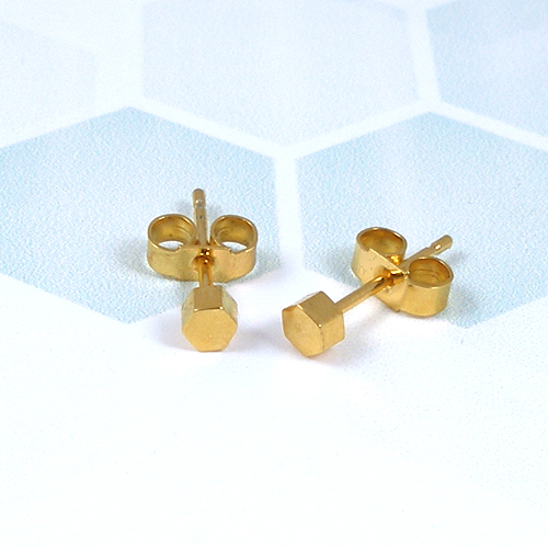 Small hexagonal gold plated studs
