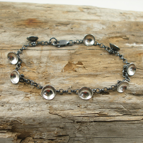 Palladium leaf cluster bracelet