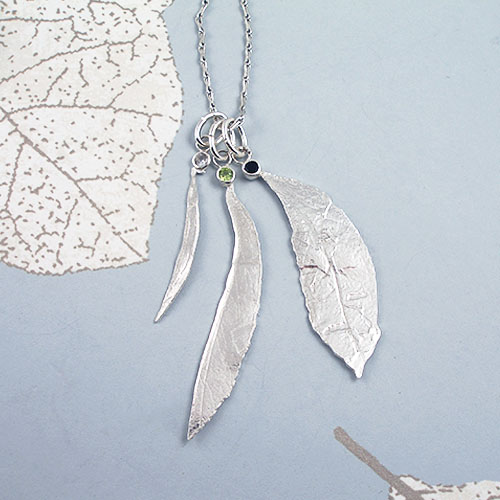 FIona Hutchinson Green and Black Tea Leaf Pendant