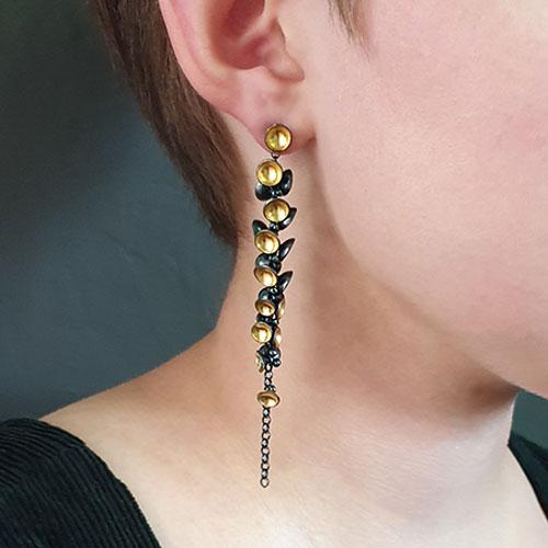 Jenifer Wall 21 Pod Cluster drop Earrings