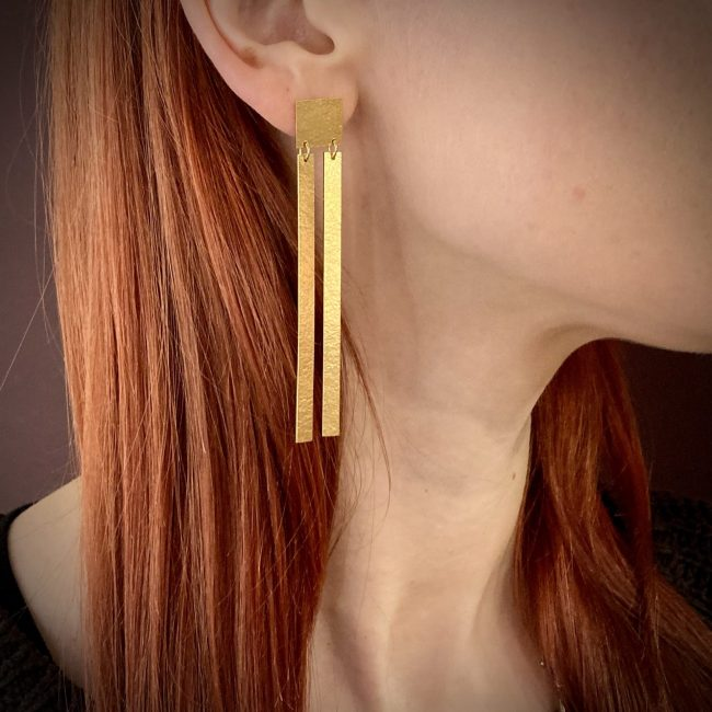 Statement double slatted gold plated earrings