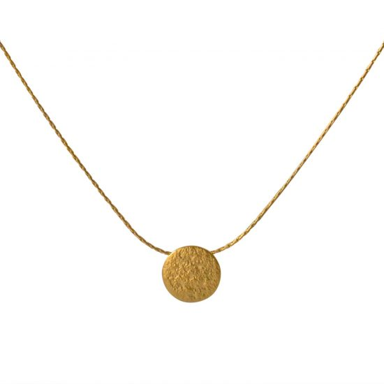 Paillette Tiny Disc Pendant in gold vermeil