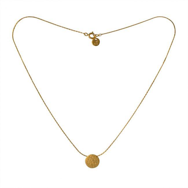 Paillette tiny disc pendant in gold vermeil