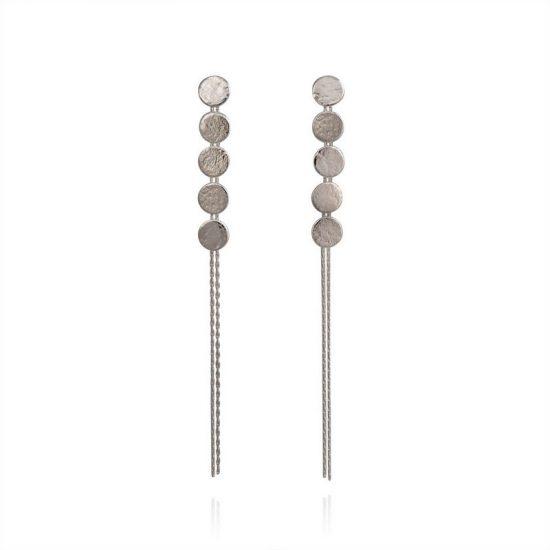 Paillette 5 Disc drop earrings