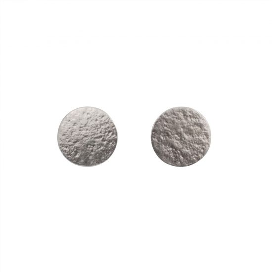 Large textured silver disc stud earrings