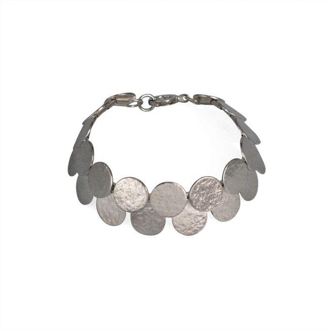 Silver Paillette double row bracelet / necklace