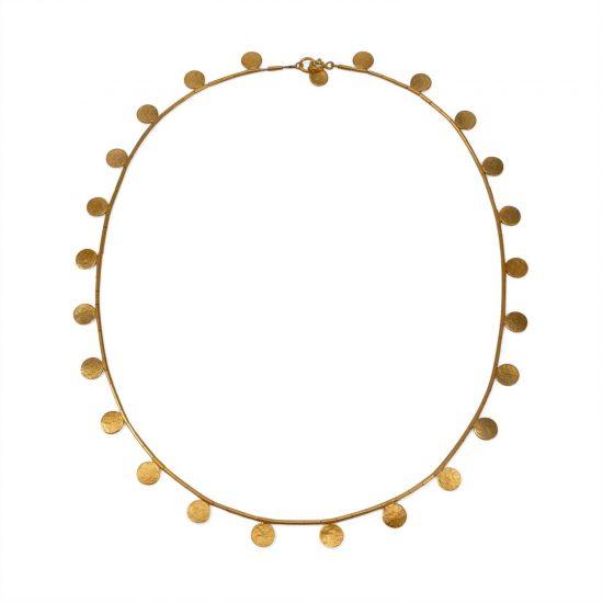Gold vermeil Paillette Disc and bead necklace