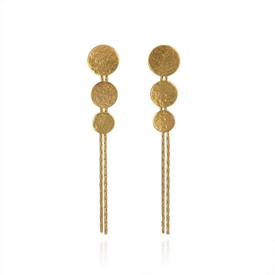 Paillette Triple Disc Drop earrings in gold vermeil
