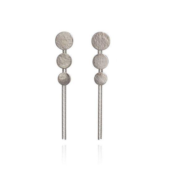 Silver Paillette Triple Disc Drop Earrings