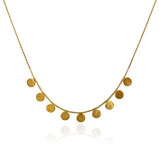 Paillette short necklace in gold vermeil