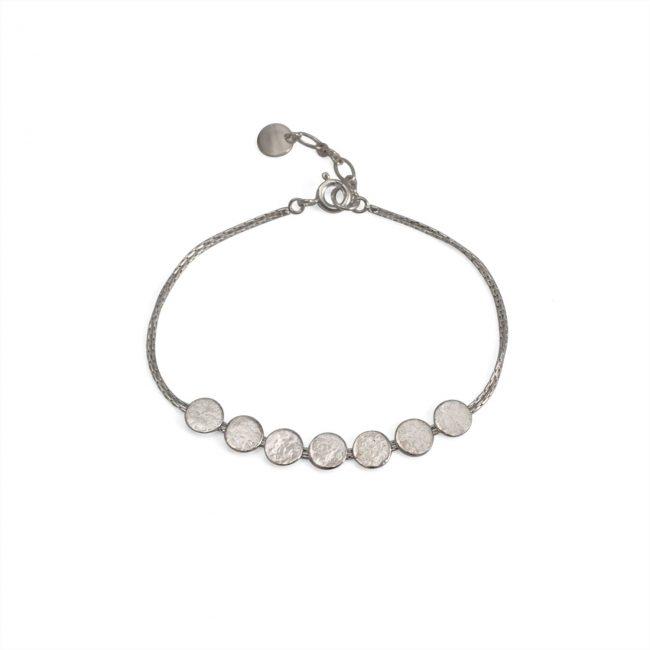 Paillette silver skinny disc bracelet