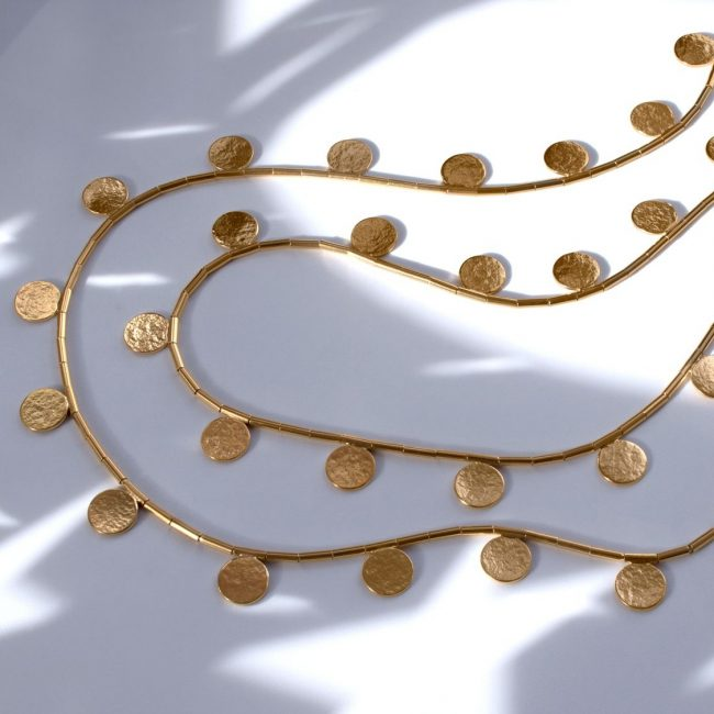 Cara Tonkin gold vermeil long disc and bead necklace
