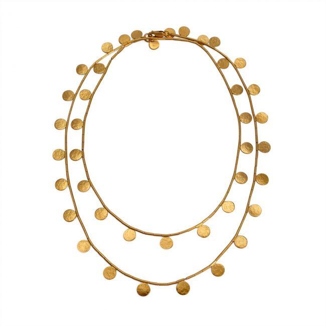 Gold vermeil Paillette long disc and bead necklace