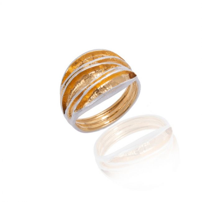Curled Leaf Silver & Gold Plated Triple Leaf Ring