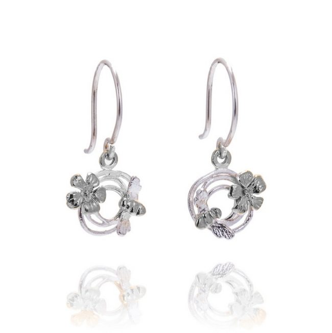 Bee's Knees Silver Small Swirl & Bee Hook Earrings