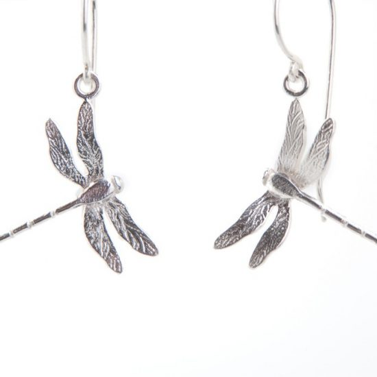 Enchanted Garden Silver Dragonfly Hook Earrings