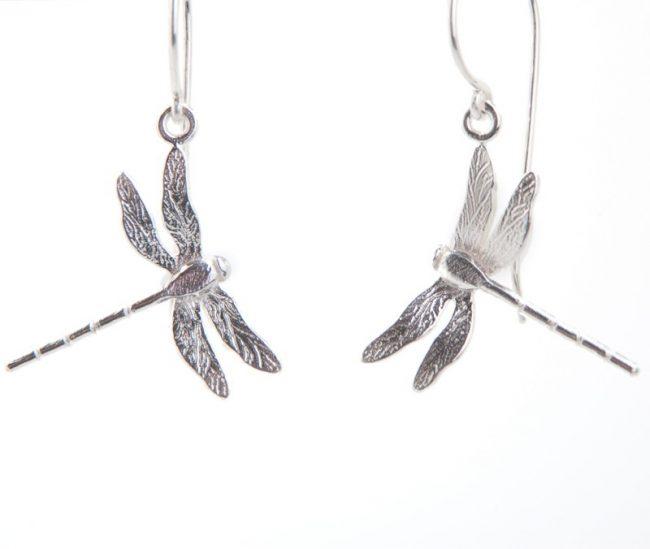 Enchanted Garden Silver Dragonfly Hook Earrings