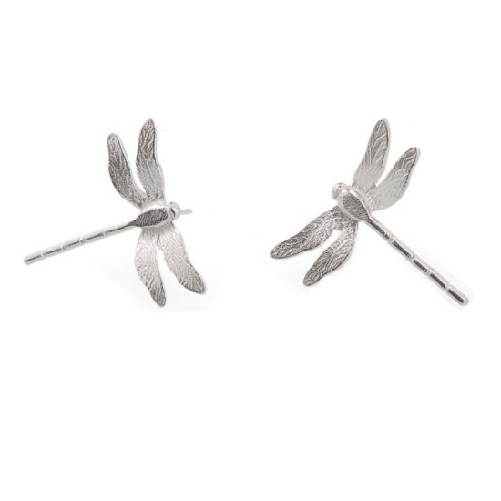 Enchanted Garden Silver Dragonfly Stud Earrings