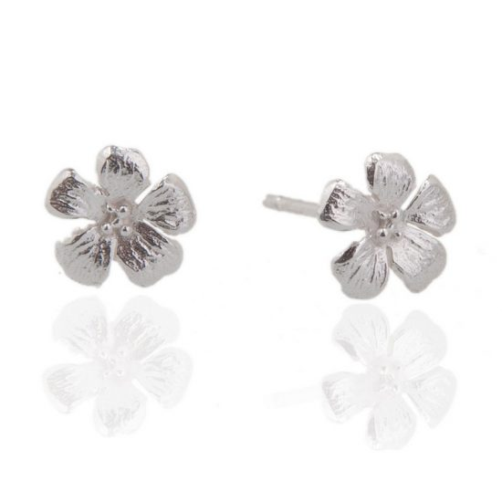 Enchanted Garden Silver Tiny Flower Stud earrings