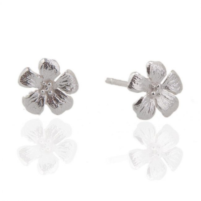 Enchanted Garden Silver Tiny Flower Stud earrings