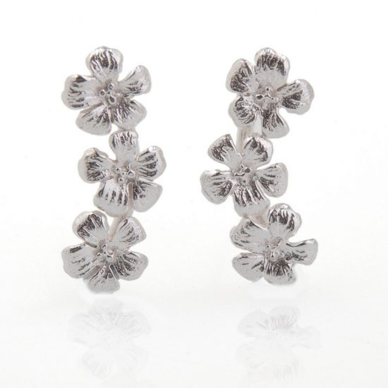 Enchanted Garden Silver Triple Flower Stud earrings