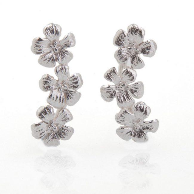 Enchanted Garden Silver Triple Flower Stud earrings