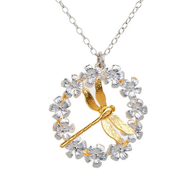 Enchanted Garden Silver and gold plated Dragonfly Wreath Pendant
