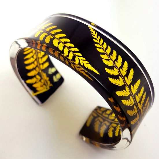 Black and Amber Narrow Fern Cuff