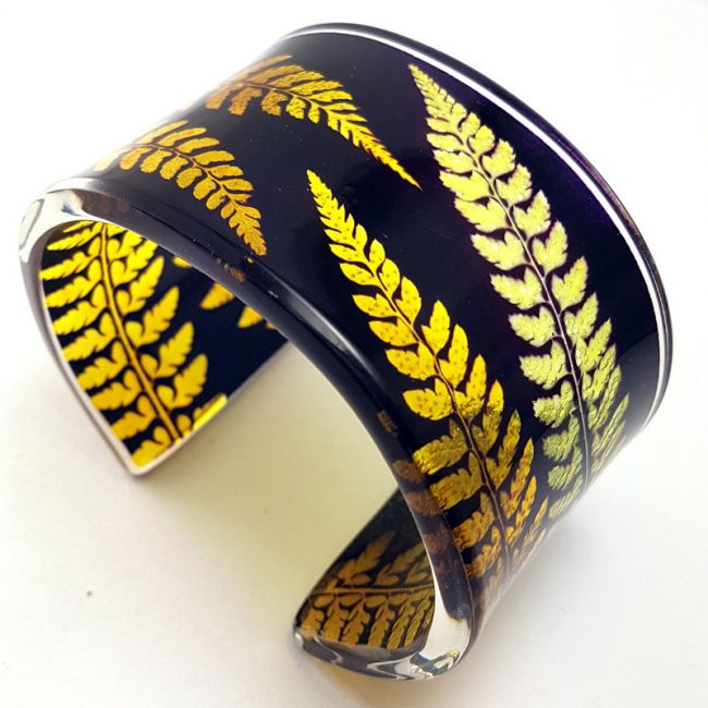 Sue Gregor Black and Amber wide acrylic cuff