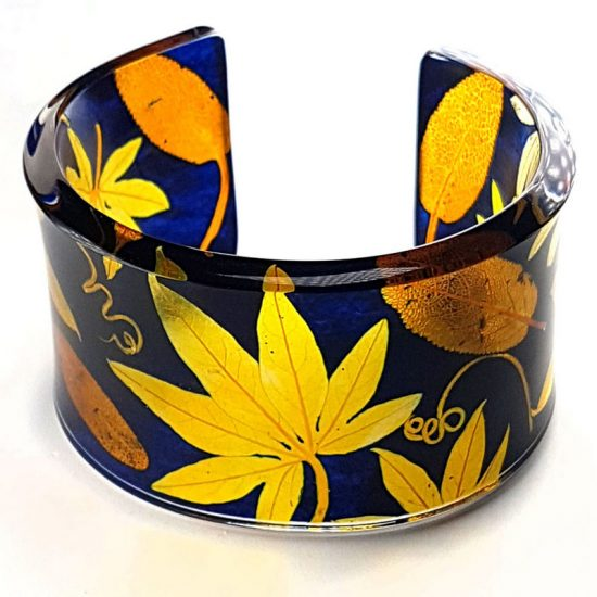 Sue Gregor Wide Navy & Turmeric Passion Flower acrylic cuff