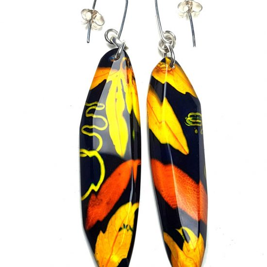 Sue Gregor Turmeric & Navy Passion flower drop earrings