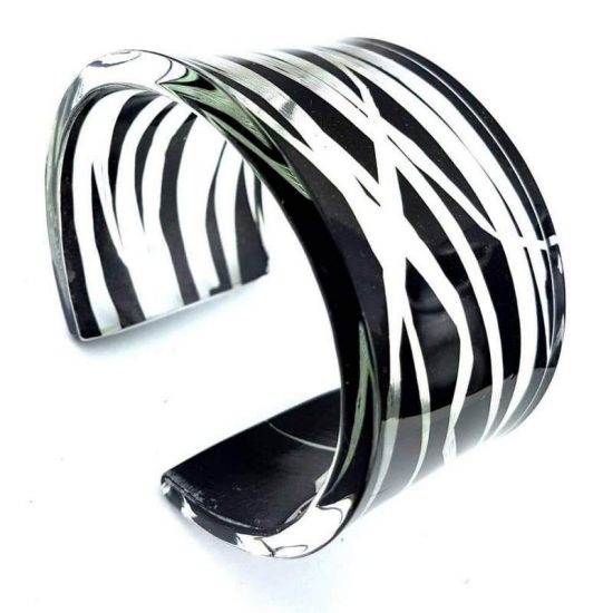 Black Blades of Grass Wide Acrylic Cuff