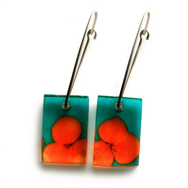 Orange Tiny Hydrangea Small Rectangle Earrings
