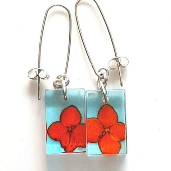 Red Tiny Hydrangea Small Rectangular Earrings