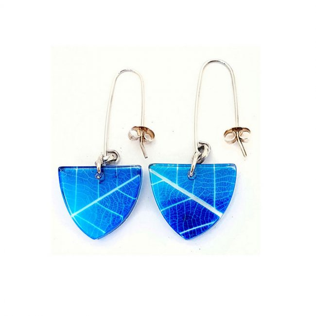 Blue Skeleton Leaf Small Triangular Earrings